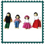 Wooden Dolls Asian Family