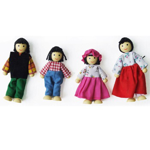 Asian Dolls Wooden Family x 4 by Fun Factory Toys