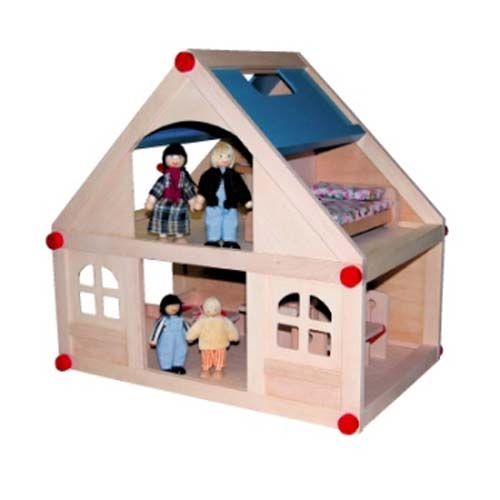 Wooden Mini 2 Level Blue Doll House by Timbertop Toys ~ Temp Out of Stock
