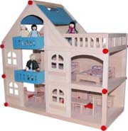 Wooden Modern 3 Level Blue Doll House by Timbertop Toys
