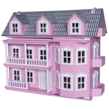 Wooden Pink Victorian doll house with 25 pcs of furniture and 7 dolls