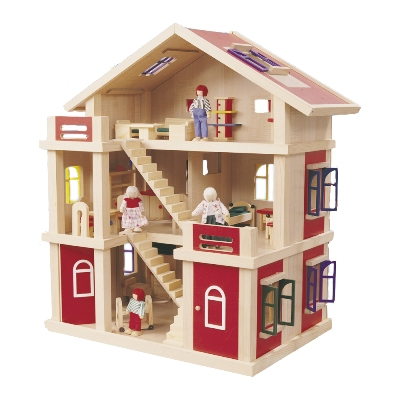 Wooden 3 Level Red Doll House-Play Centre