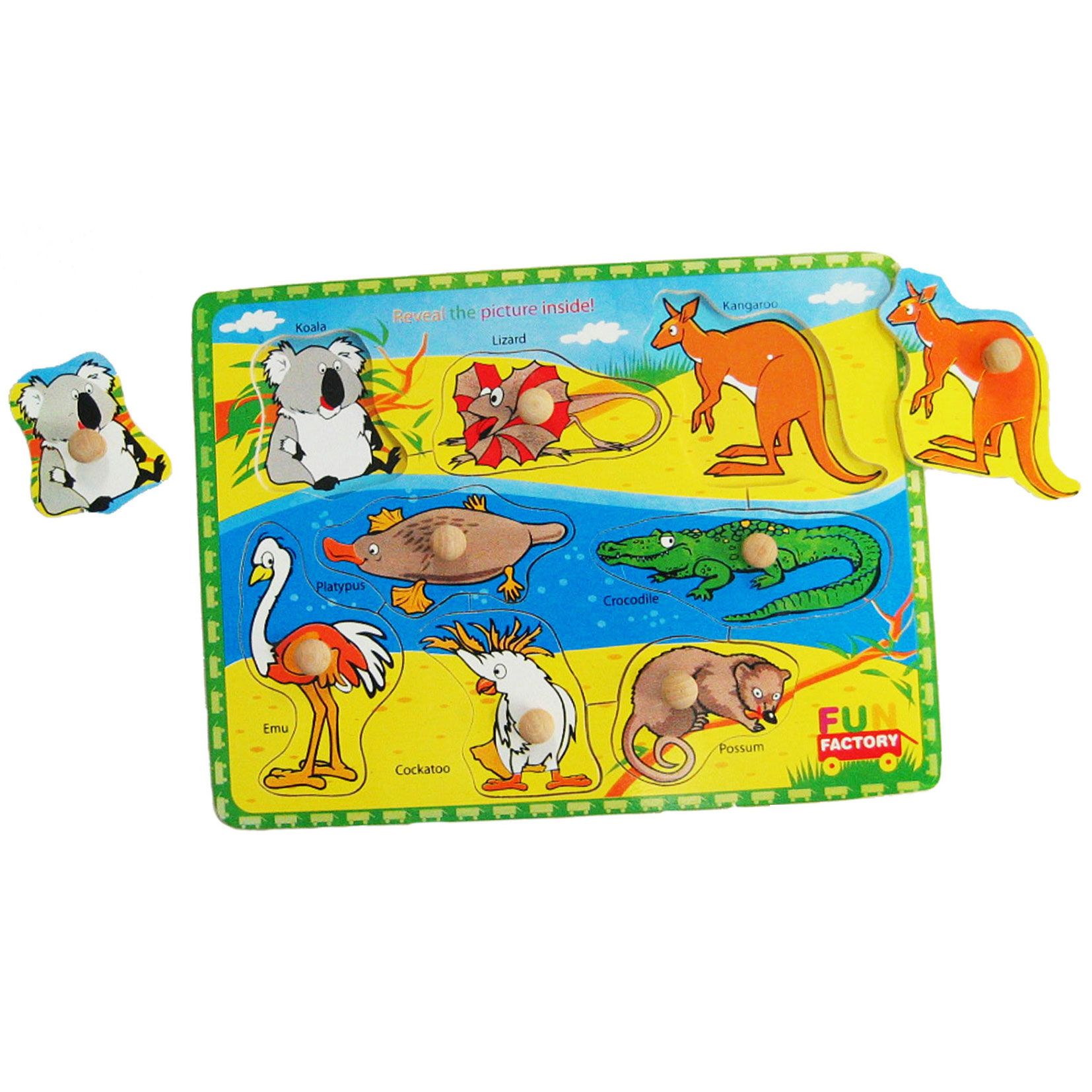 Wooden kob puzzle with Australiana Theme