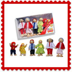 Wooden dolls family x 6