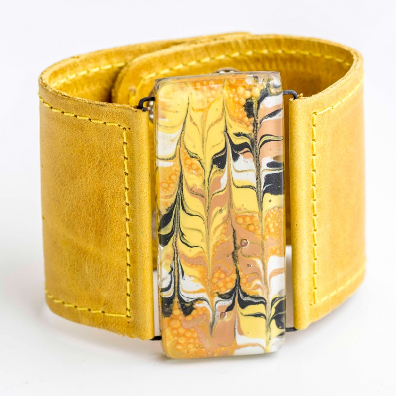 Mellow Yellow Marbled Glass and Leather Cuff by Cristalida