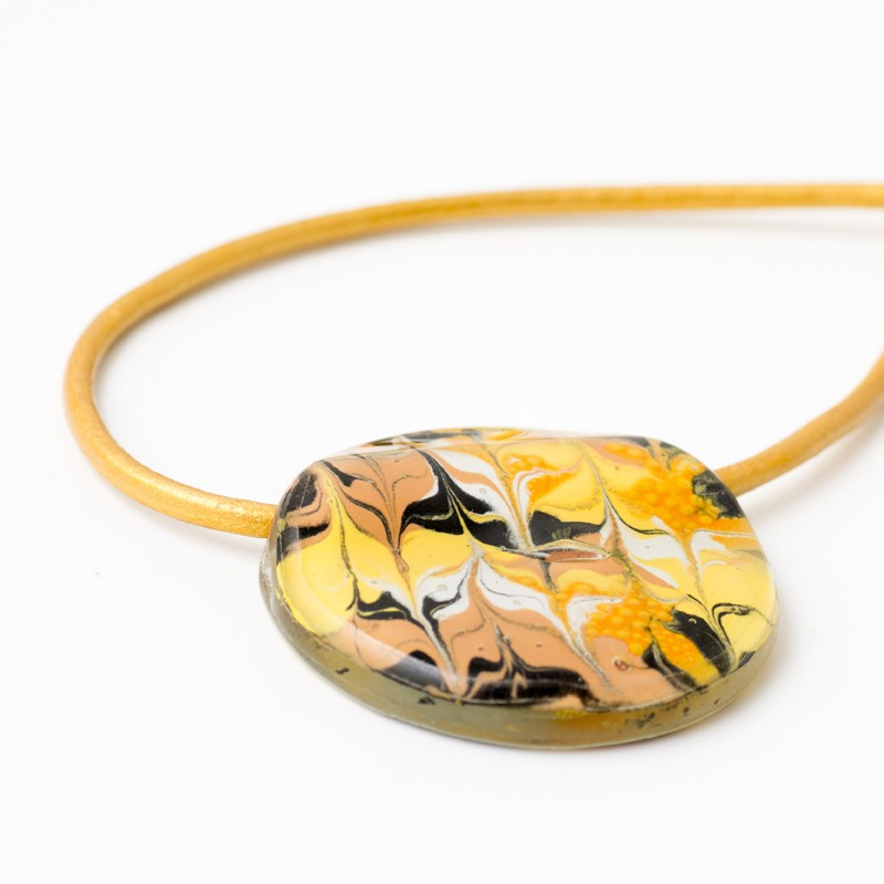 Mellow Yellow Marbled Glass Cerdena Necklace by Cristalida