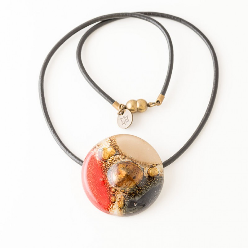 Mallorca Red, Yellow & Black tones Bronze fused Glass Necklace by Cristalida