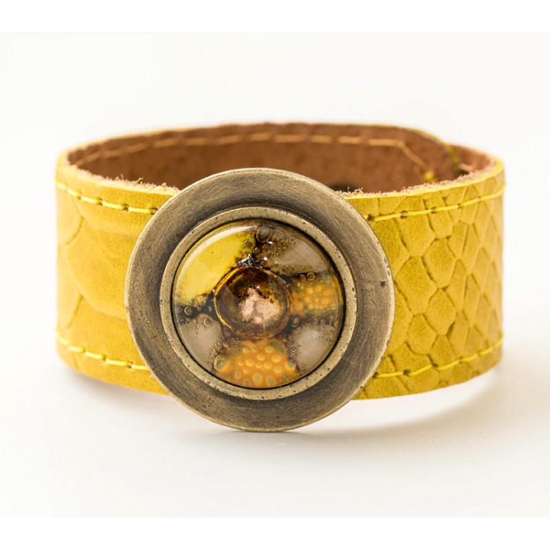 Yellow Bronze Glass and Leather Blondie Cuff by Cristalida